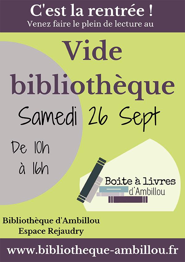 Vide Bibliothèque - Samedi 20 septembre de 10h à 16h